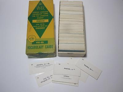 Set Vis-Ed Vtg French Vocabulary Cards Flashcards Learn or Craft As Found
