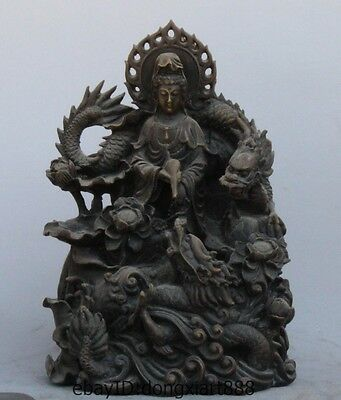 China Buddhism pure Copper Brass lotus Two Dragon Dripping Guanyin Bodhisattva