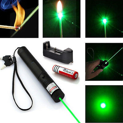 Military High Power Green Laser Pointer Pen 532nm Burning Beam +18650 +Charger