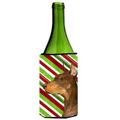 Doberman Candy Cane Holiday Christmas Wine Bottle Hugger 24 oz.