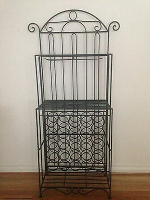 Black Wrought Iron Bar and Wine Rack