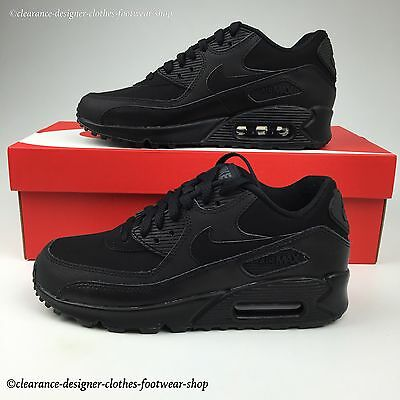 Nike Air Max 90 Gs Trainers Womens Girls Triple Black Casual Shoes Rrp £110