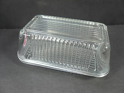 """Vtg Pasabahce Square 6 3/4"""" x 4"""" Refrigerator Butter Dish - Ribbed Clear Glass"""