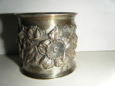 "Vtg Victorian High Relief Repousse Floral 2"" Napkin Ring Silverplate 3 Flowers"