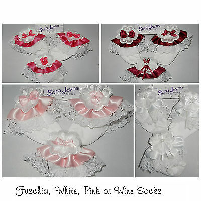 1 Pair Frilled baby/child's socks frilly lace ,Communion, Bridesmaid, Party
