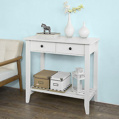 SoBuy® Console Table with 2 Drawers and Shelf,W85 x D40 x H80cm,White,FSB04-W,UK