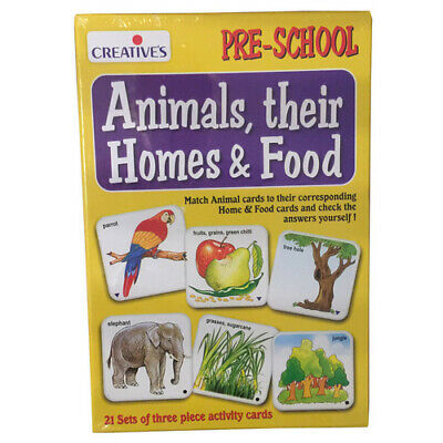 ANIMAL HOMES & FOOD Educational Learning Matching Game PRESCHOOL TOY Kids NEW