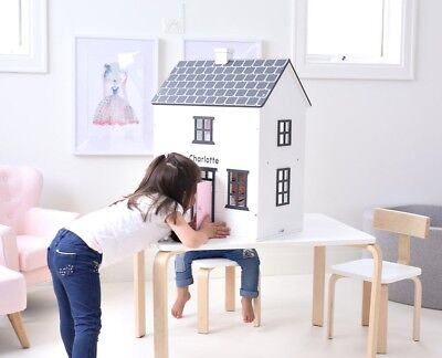 Hip Kids Remi's Wooden Toy Doll House Dollhouse Furniture and Dolls Set
