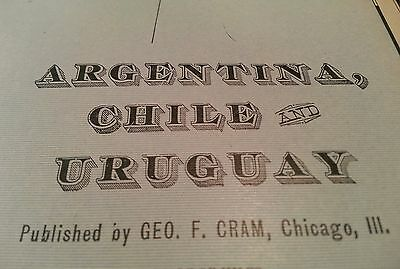 "Antique ARGENTINA CHILE URUGUAY Map 1902 Original FINE 14.5""x22"" Old MAPZ114"