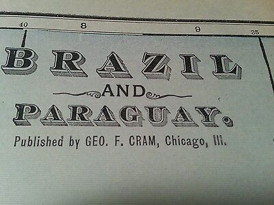 "Antique BRAZIL PARAGUAY Map 1902 Vintage Original FINE 14.5""x22"" Old MAPZ125"