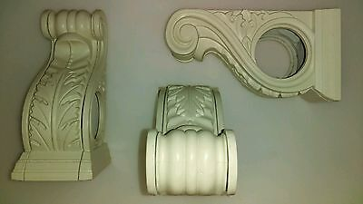 THREE SCONCES for SCARF or DRAPERY with ORNATE LEAF & SCROLL DESIGN