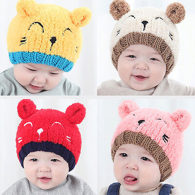 Baby Toddler Girls Boys Warm Hat Winter Beanie Hooded Earflap Knitted Cap Cute