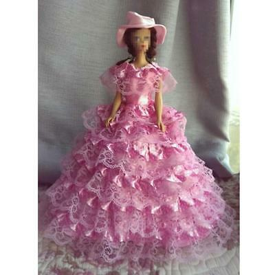 Handmade Pink Lace Polka Dots Wedding Gown Dress Hat Clothes for Barbie Dolls