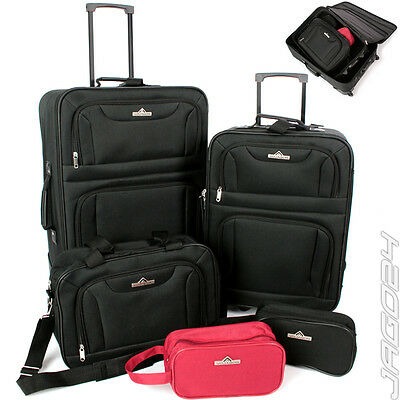 Luggage Trolley Travel Suitcase Set of 5 Cabin Shoulder Cosmetic Bag Lightweight