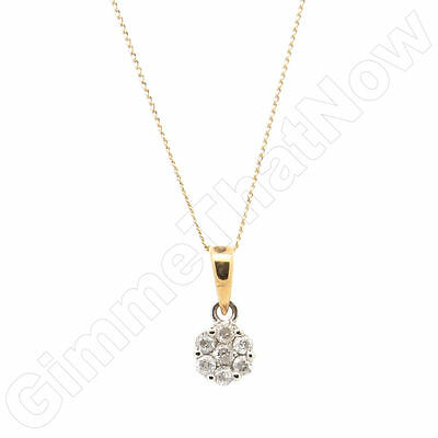 9ct Yellow Gold 0.25ct Round 7 Stone Diamond Cluster Pendant and Chain