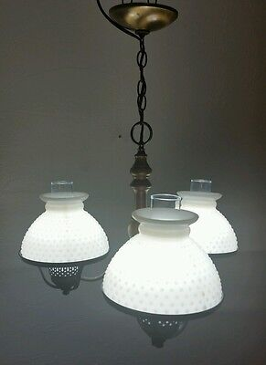 Vintage Light Fixture Chandelier antique Brass & Milk Glass art deco hurricane.