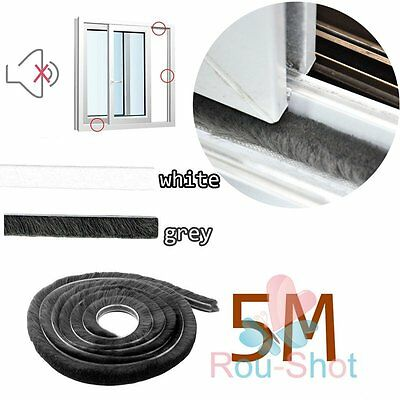 5M Brush Pile Window Door Draft Draught Excluder Weather Strip Insulation Roll