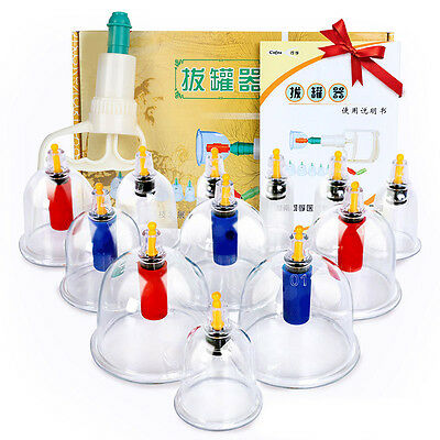 Healthy Vacuum 12 CUPPING cups Slimming Therapy Massage Acupuncture cofoe