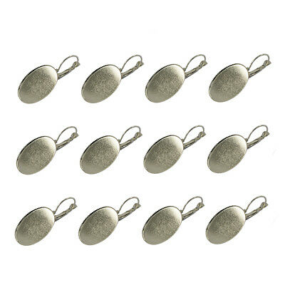 12pcs Silver Plated Earring Blanks with 25x18mm Oval Cabochon Bezel Setting
