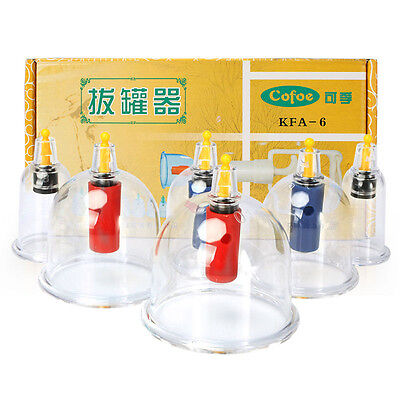 Chinese Vacuum 6 Cupping cups Therapy Slimming Biomagnetic Massage Acupuncture