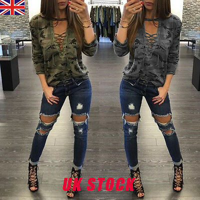 Womens Camouflage Print Lace Up Tops Shirt Ladies Casual Loose T-shirt Blouse