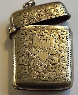 Antique Hallmarked Silver Vesta Case From K&W.B  - Lovely Item See The Pictures