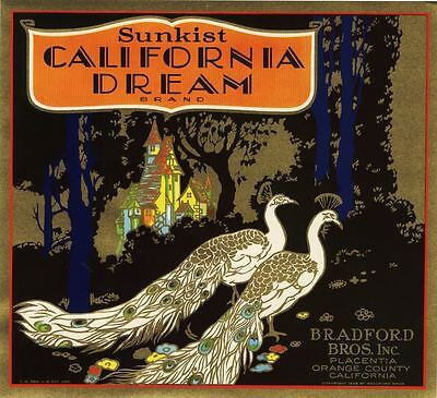 Orange Crate Label California Dream Placentia Peacock Original 1930S Original
