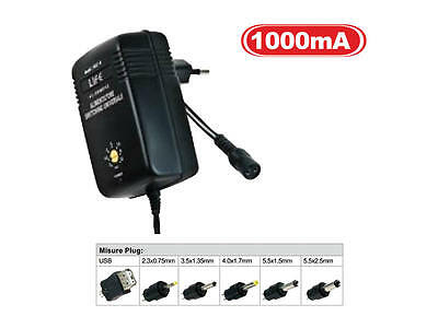 Alimentatore SWITCHING 12W OUT 3 / 4.5 / 5 / 6 / 7.5 / 9 / 12v 1000mA max + USB