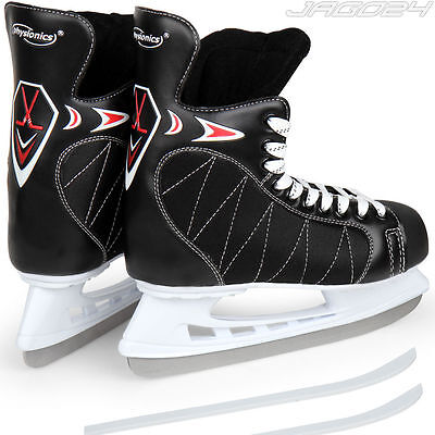 Adult Ice Hockey Skates Skating Shoes Boots Ankle Support Blade Guards Black