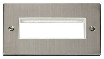 Deco 2G Plate 6 In-Line Aperture White Victorian Stainless Steel