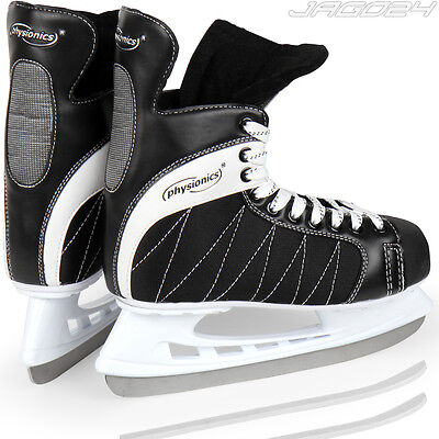 Ice Hockey Skates Skating Shoes Boots Support Blade Guards Adult Black-White