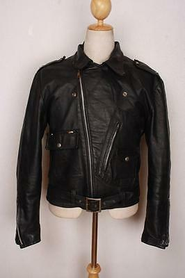 Vtg 1960s BRIMACO D-Pocket Motorcycle Biker Leather Jacket Medium
