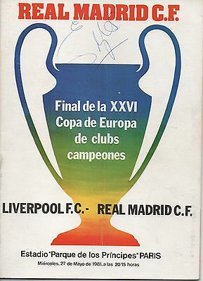 REAL MADRID v LIVERPOOL 27.05.81 EUROPEAN CUP FINAL RARE EMLYN HUGHES SIGNED