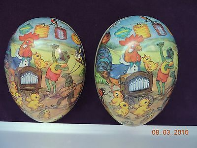 VTG Paper Mache Egg Germany Democratic Rooster Frogs Grasshopper Chics Partying