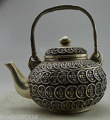 Collectible Decorated Old Handwork Miao Silver Carved Coin Wonderful Tea pot