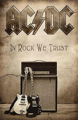 """Ac/dc Flagge / Fahne """"in Rock We Trust"""" Posterflag"""