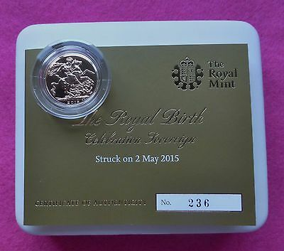 2015 Full Gold Sovereign Struck On Day Of Princess Charlotte's Birth Coa And Box