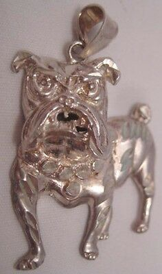 Awesome Old Silver American Bulldog Pendant 925 Sterling Nice!