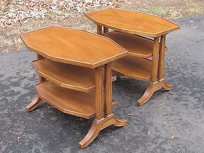 Pair Mid Century Modern Regency Style End Tables by Henredon