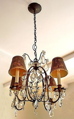 1930's-1950's Gilt Metal and Cut Glass Italian Bird Cage Ceiling Chandelier.