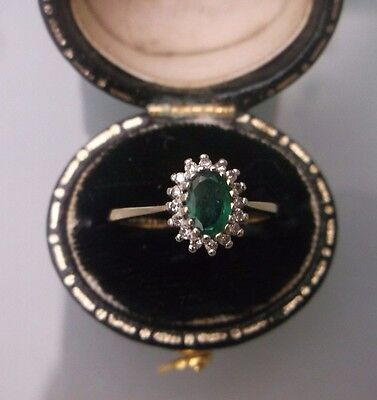 Women's Vintage 9ct Gold Diamond & Tourmaline Ring Size J  Weight 1.6g Stamped