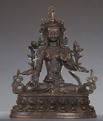 Rare Vintage Chinese Old Bronze Buddha Seated Statue NA289
