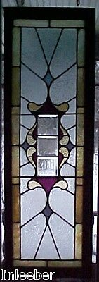 """Antique Stained Glass Window-Large Victorian Design-52"""" x17"""";Framed in Thick Oak"""
