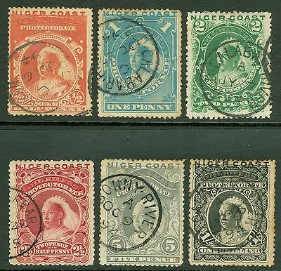 SG 45-50 Niger Coast ½d-1/- set of 6. Fine used. Condition mixed CAT £60