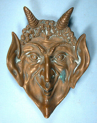 Halloween Devil Head Brass Ashtray High Relief Detail Approx 1930-1940s Satan