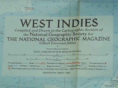 "Vintage 1954 West Indies Map National Geographic March 1954 - 28 5/8"" x 35"" –EUC"
