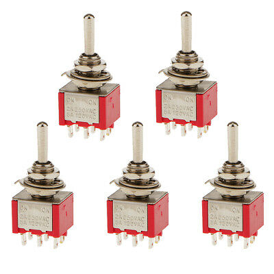 5 x On/Off Mini Miniature Toggle Switch Car Dashboard Mold SPST 6P Red