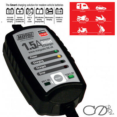 1.5A 6/12V MAINTENANCE SMART BATTERY CHARGER lead acid AGM free motorcycle car