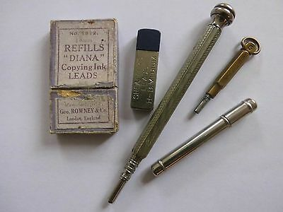 Edwardian propelling pencils with leads and leads case