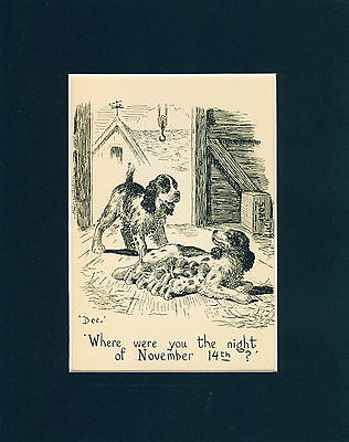 Old Dog Print 1939 English Springer Spaniel and her Litter RARE Funny